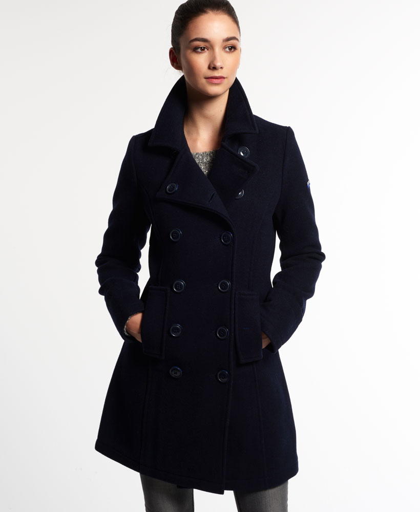new womens superdry bridge coat navy ebay. Black Bedroom Furniture Sets. Home Design Ideas