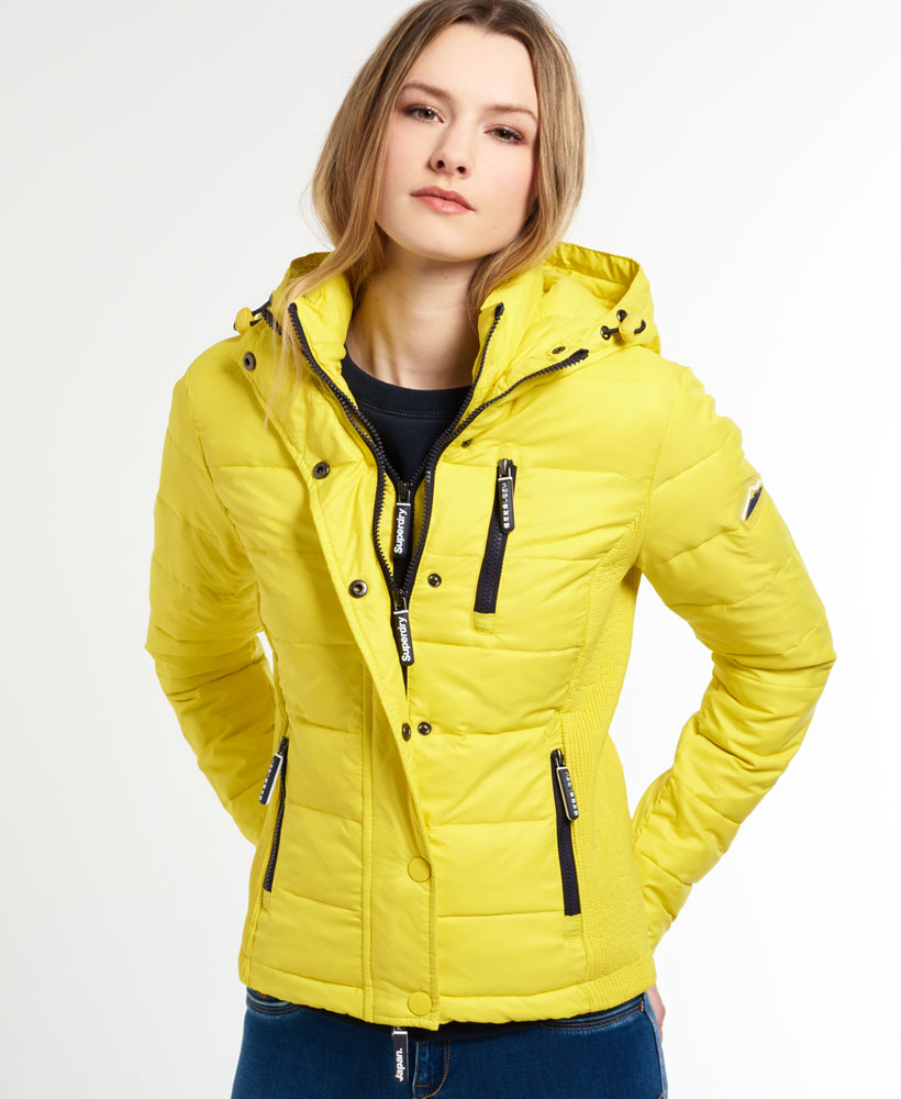 new womens superdry fuji double zip jacket solar yellow ebay. Black Bedroom Furniture Sets. Home Design Ideas
