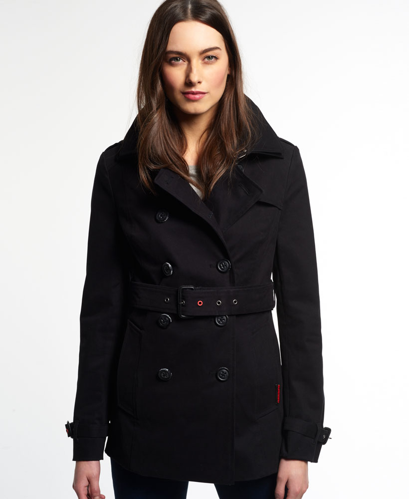 neue damen superdry jacke belle trenchcoat schwarz ebay. Black Bedroom Furniture Sets. Home Design Ideas