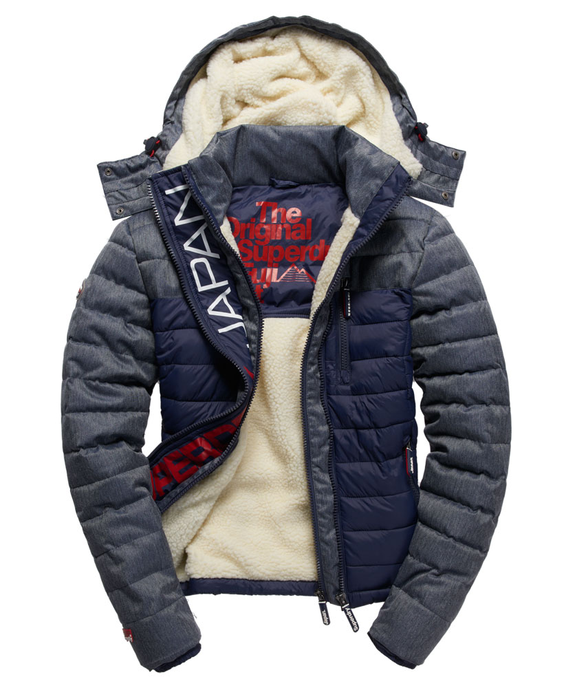 new mens superdry fuji mix double zip hooded jacket navy ebay. Black Bedroom Furniture Sets. Home Design Ideas