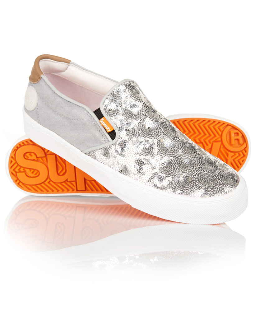 New Womens Superdry Dion Shoes Silver Sequin | eBay