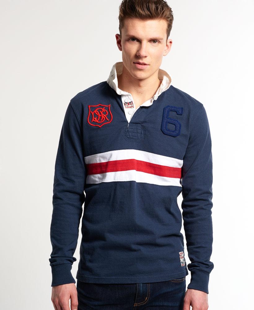 Super Scrum Rugby Shirt In Flyhalf Navy Stripe: New Mens Superdry Super Scrum Rugby Shirt Blindside Navy