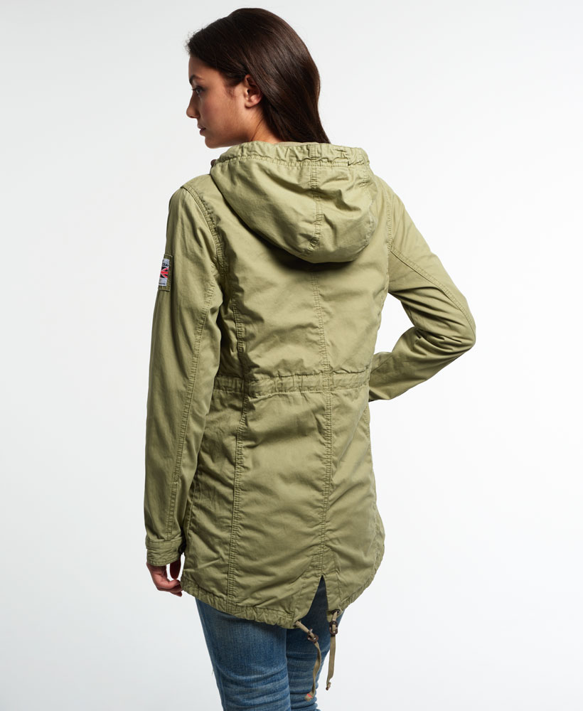 neue damen superdry rookie military parka dull olive ebay. Black Bedroom Furniture Sets. Home Design Ideas