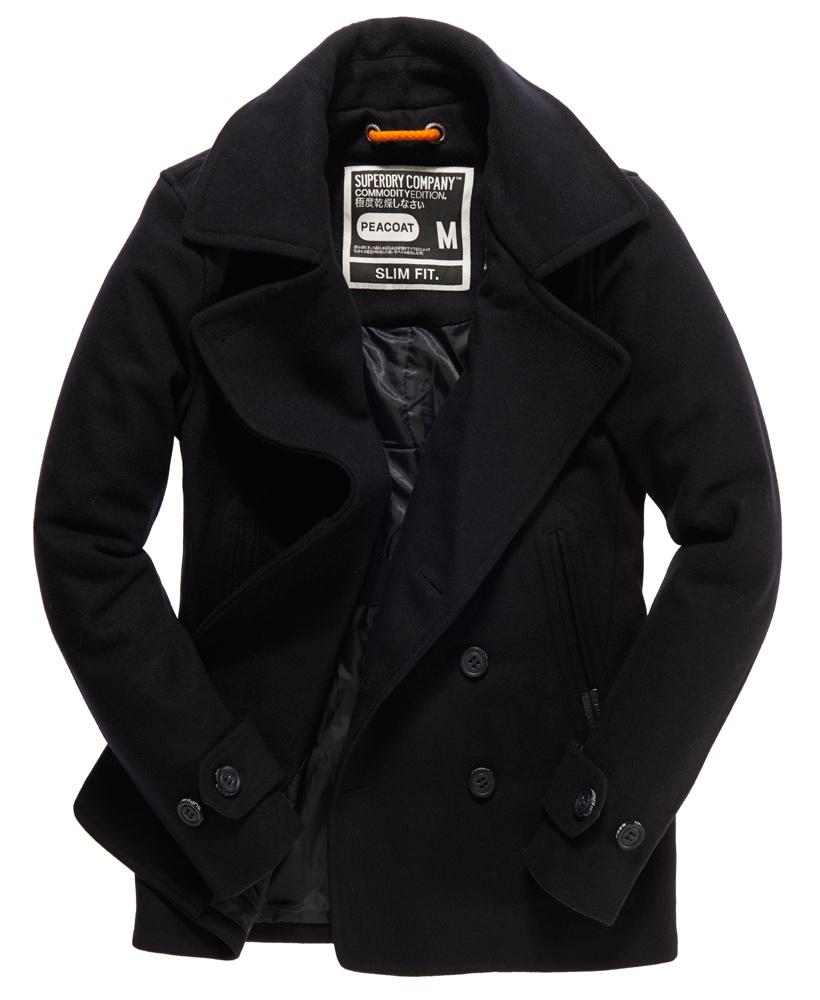 new mens superdry commodity slim pea coat dark navy ebay. Black Bedroom Furniture Sets. Home Design Ideas
