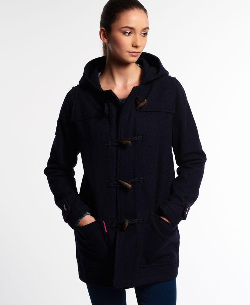 neue damen superdry jacke rookie dufflecoat navy ebay. Black Bedroom Furniture Sets. Home Design Ideas