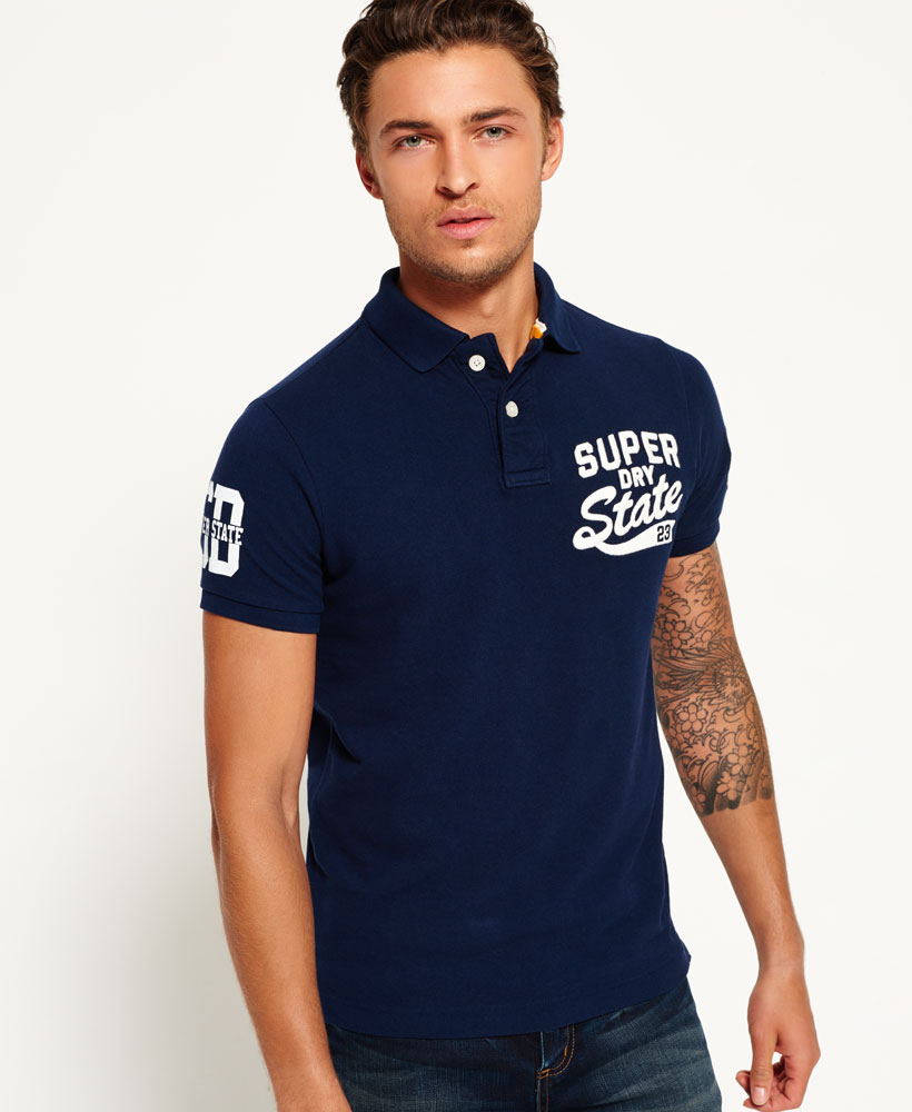 New mens superdry super state pique polo shirt rigging for Mens polo shirts online