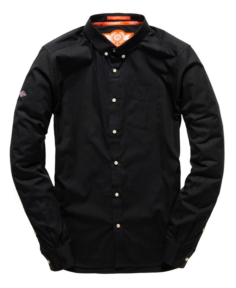 New mens premium button down shirt black ebay for Mens black button down shirt