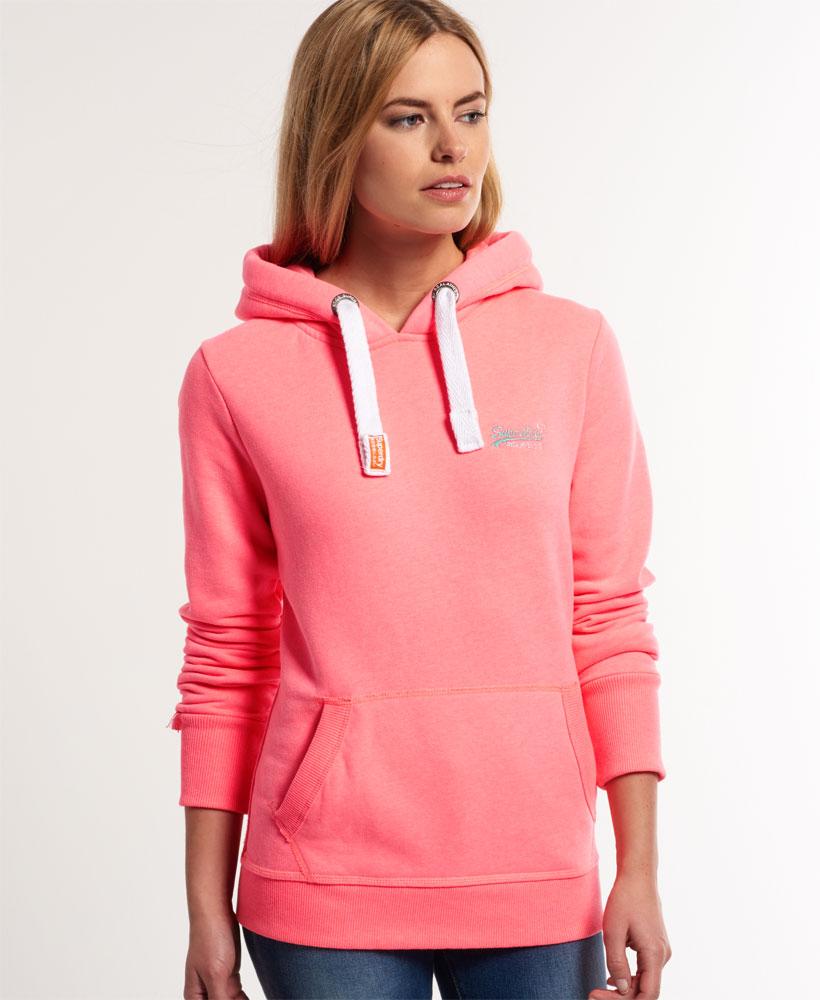 new womens superdry orange label hoodie neon pink marl. Black Bedroom Furniture Sets. Home Design Ideas