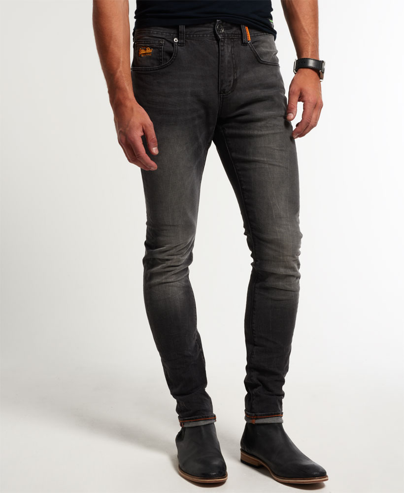 new mens superdry super skinny jeans onyx grey ebay. Black Bedroom Furniture Sets. Home Design Ideas
