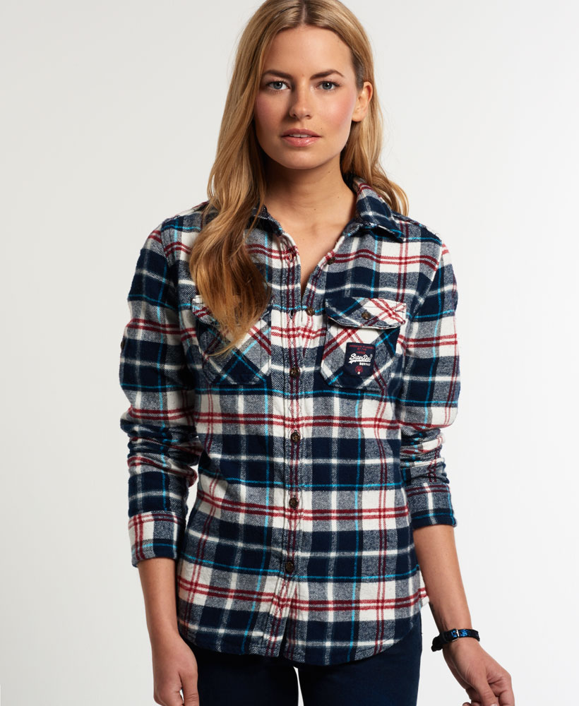 New womens superdry milled flannel shirt ocean blue check for Ladies soft flannel shirts