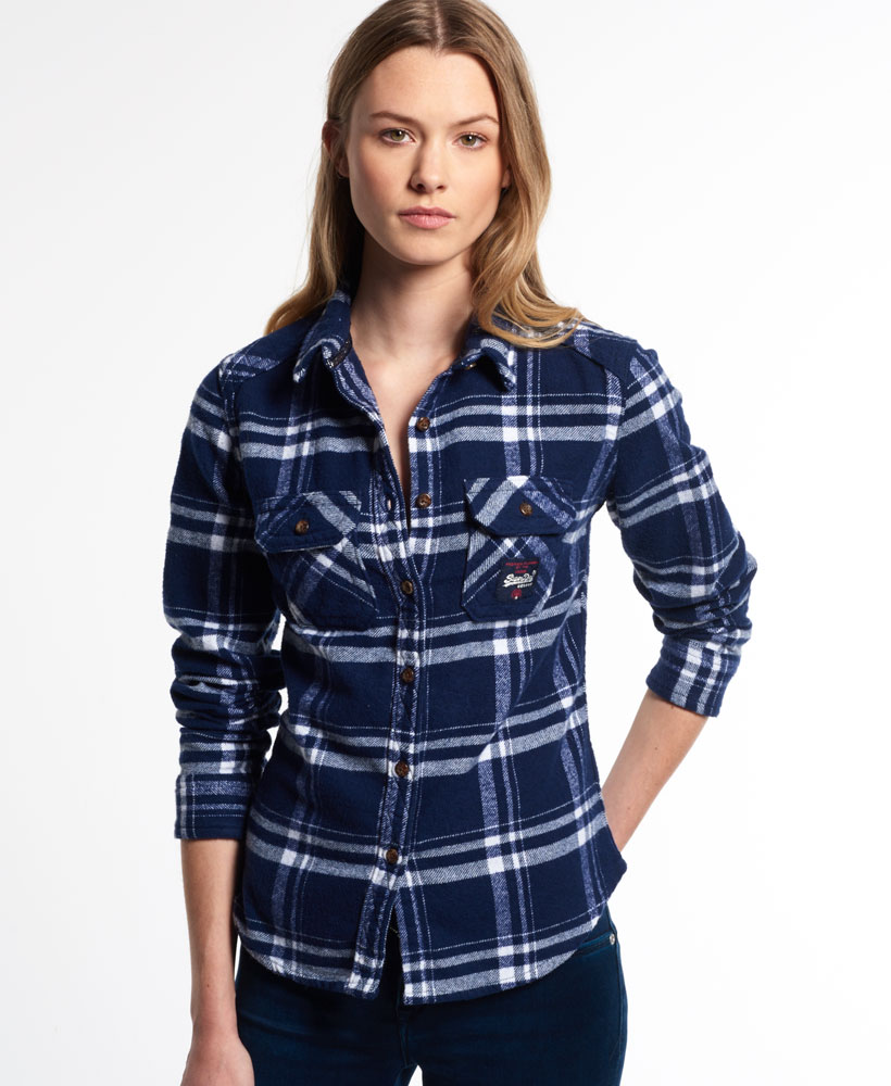 New womens milled flannel shirt atlantic check ebay for Ladies soft flannel shirts
