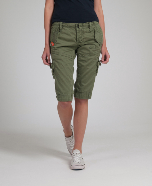 New Womens Superdry Core Cargo Shorts Fade Out Green