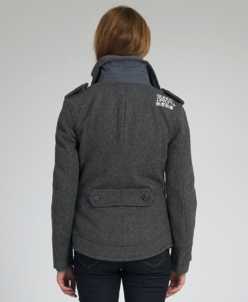 New Womens Superdry Classic Pea Coat Jacket Ash Marl Grey