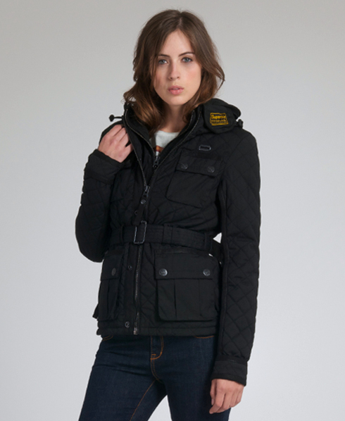 New Womens Superdry Quilted Blackhawk Jacket