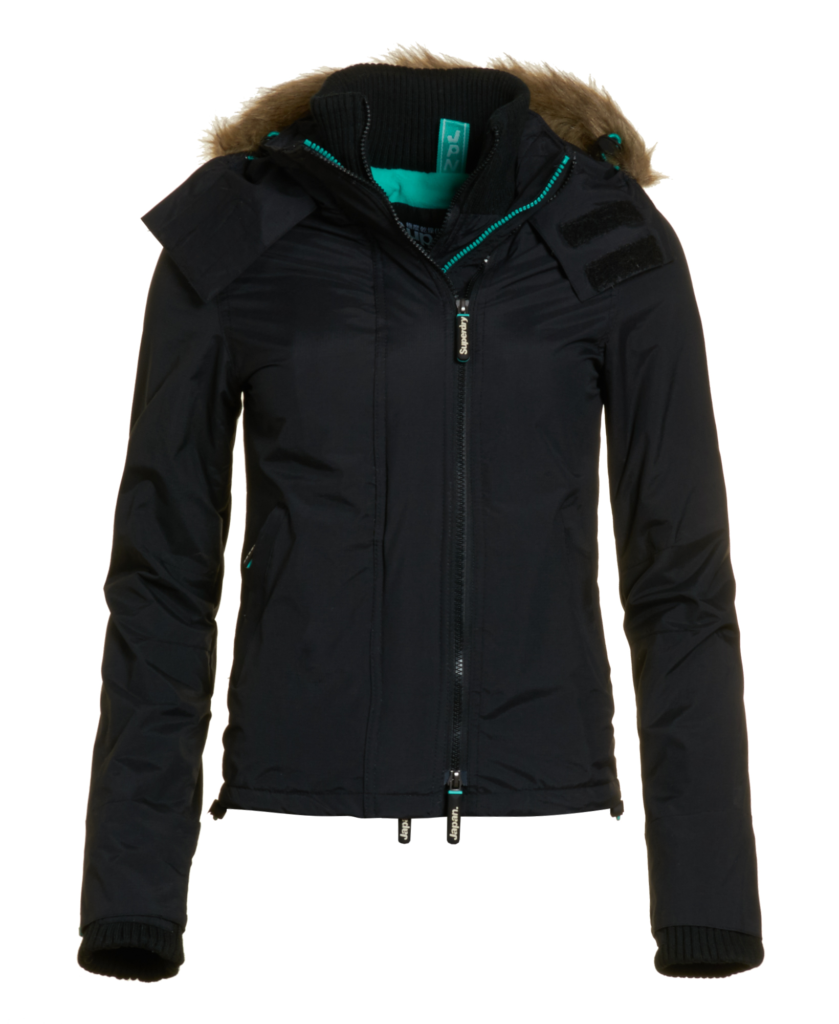 neue damen superdry jacke pop zip fur hooded arctic. Black Bedroom Furniture Sets. Home Design Ideas