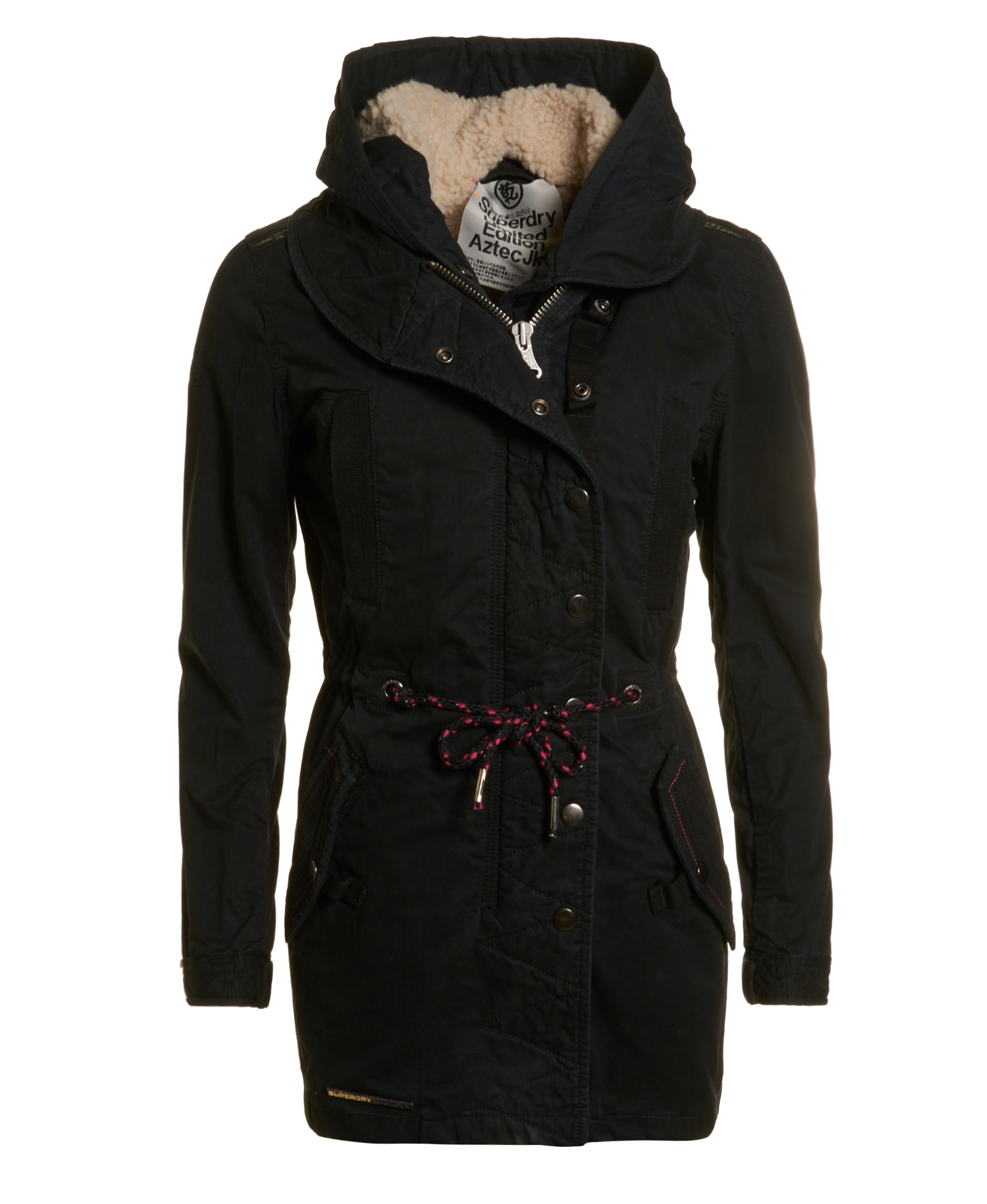 neue damen superdry jacke hooded aztec parka black ebay. Black Bedroom Furniture Sets. Home Design Ideas