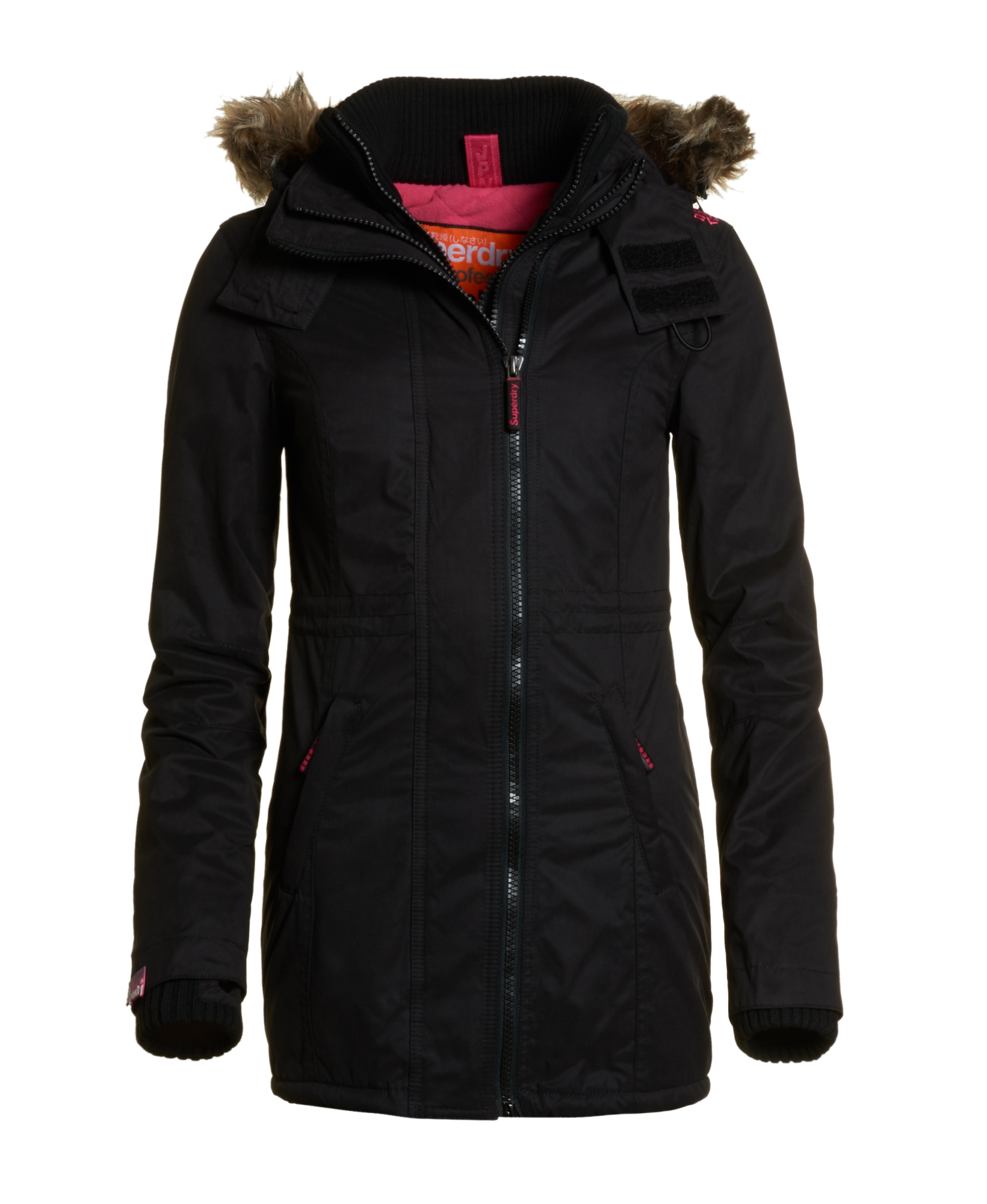 neue damen superdry jacke hooded super microfibre windcheater black ebay. Black Bedroom Furniture Sets. Home Design Ideas