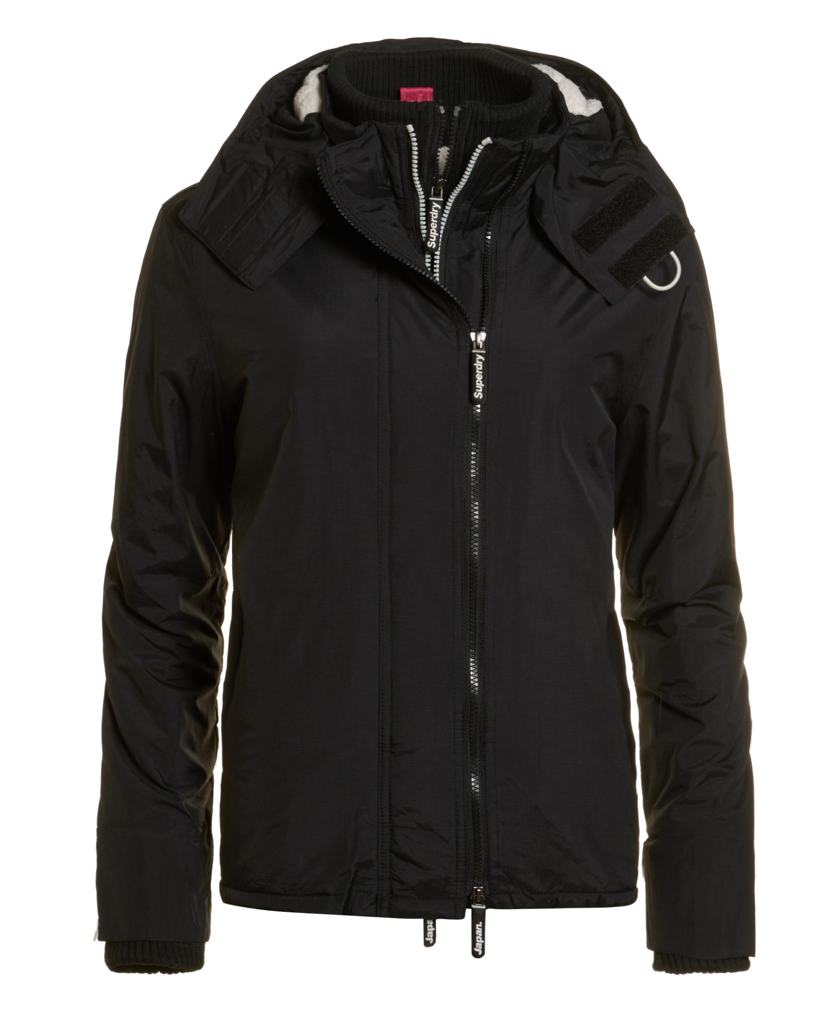 neue damen superdry jacke hooded sherpa windcheater black. Black Bedroom Furniture Sets. Home Design Ideas