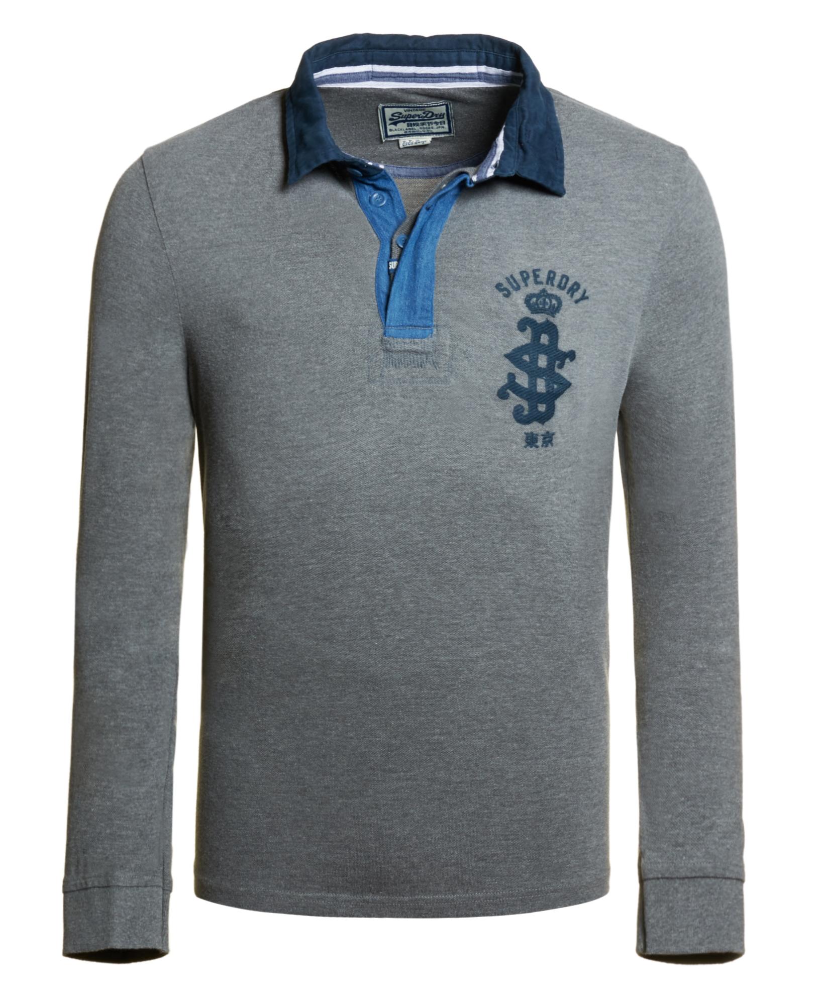 neues herren superdry blue collar polo shirt dark marl grau ebay. Black Bedroom Furniture Sets. Home Design Ideas
