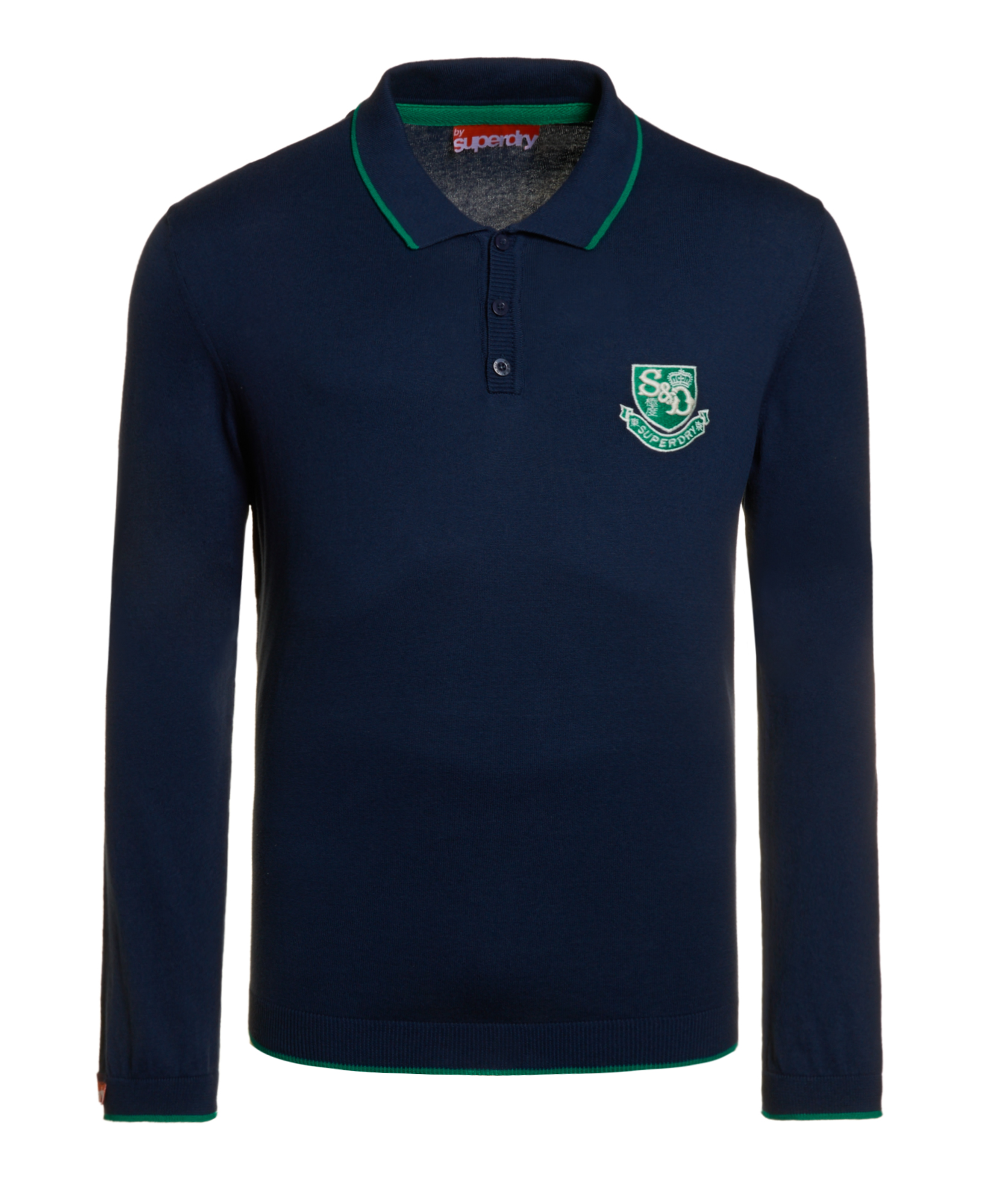 neues herren superdry knit polo shirt french navy blau ebay. Black Bedroom Furniture Sets. Home Design Ideas