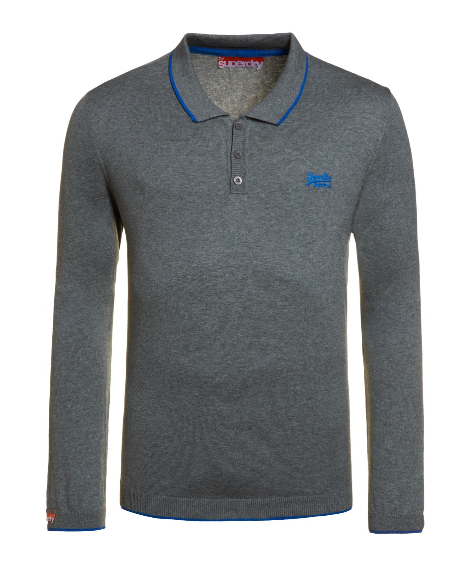 neues herren superdry knit polo shirt dark marl grau ebay. Black Bedroom Furniture Sets. Home Design Ideas