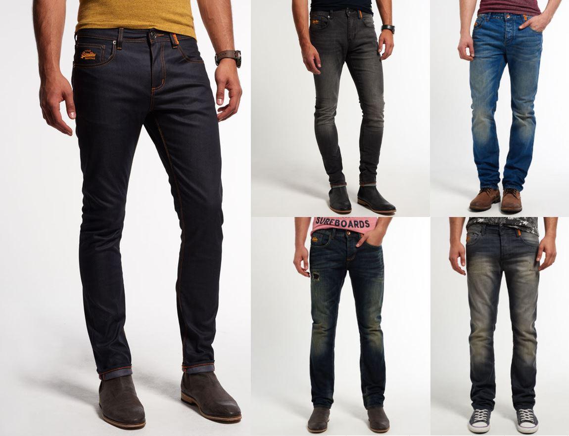 Neue Herren Superdry Jeans Versch. Modelle und Farben