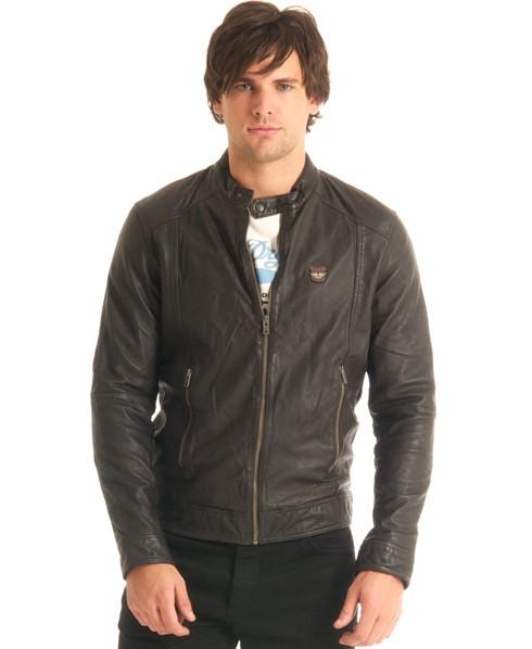 New Mens Superdry Basic Biker Leather Jacket Brown