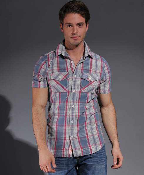 New-Mens-Superdry-Washbasket-Short-Sleeved-Shirt-Panpacific-Pink-TSD