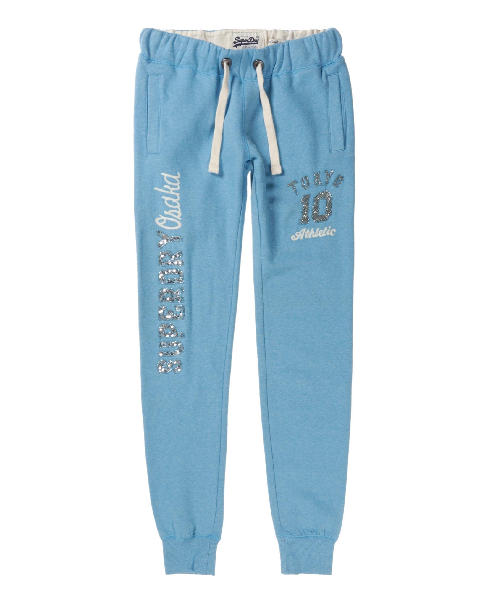 neue damen superdry osaka script sparkle jogginghose cali blau grit ebay. Black Bedroom Furniture Sets. Home Design Ideas