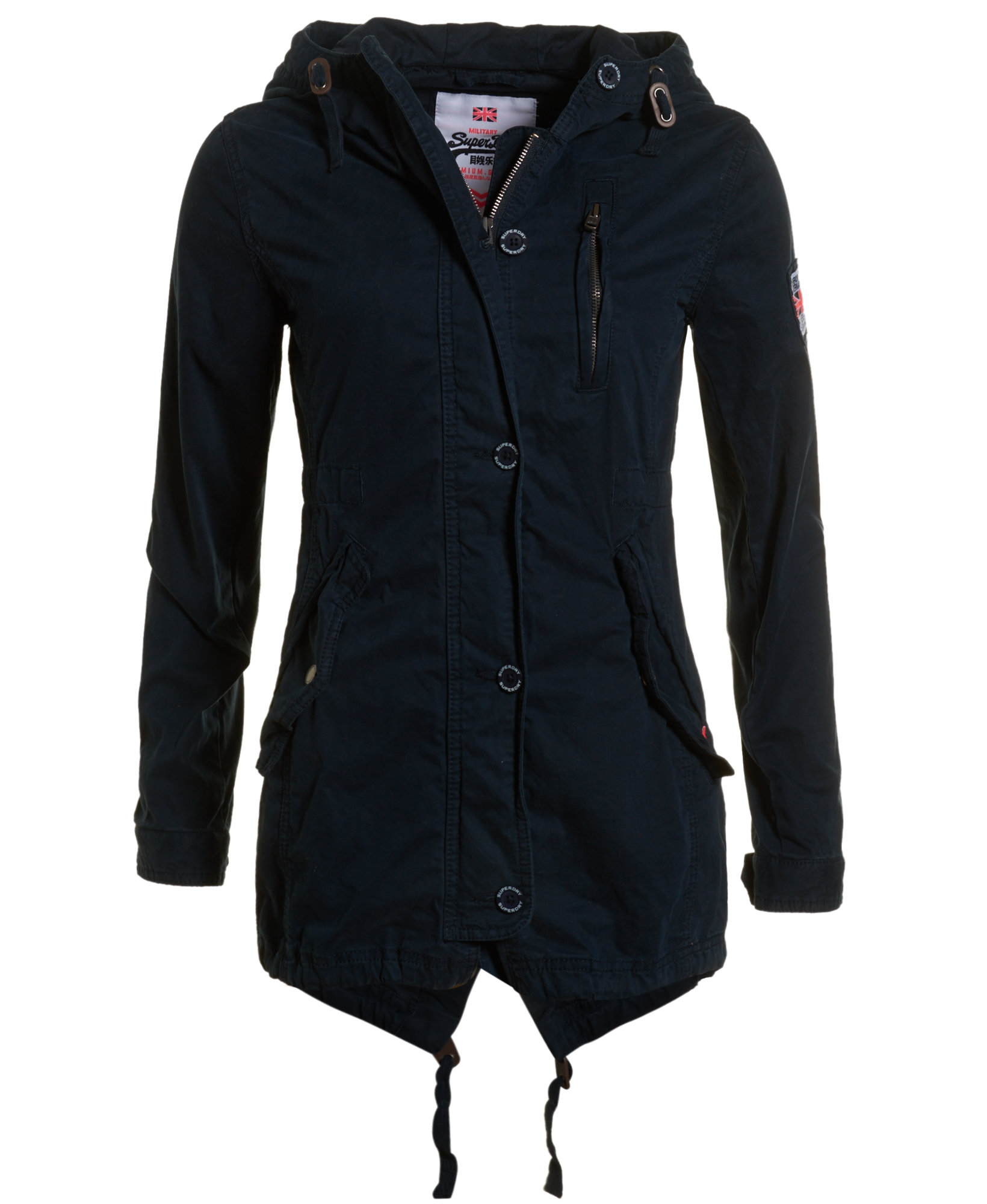 New Womens Superdry Rookie Shawl Parka Jacket Washed Navy | eBay