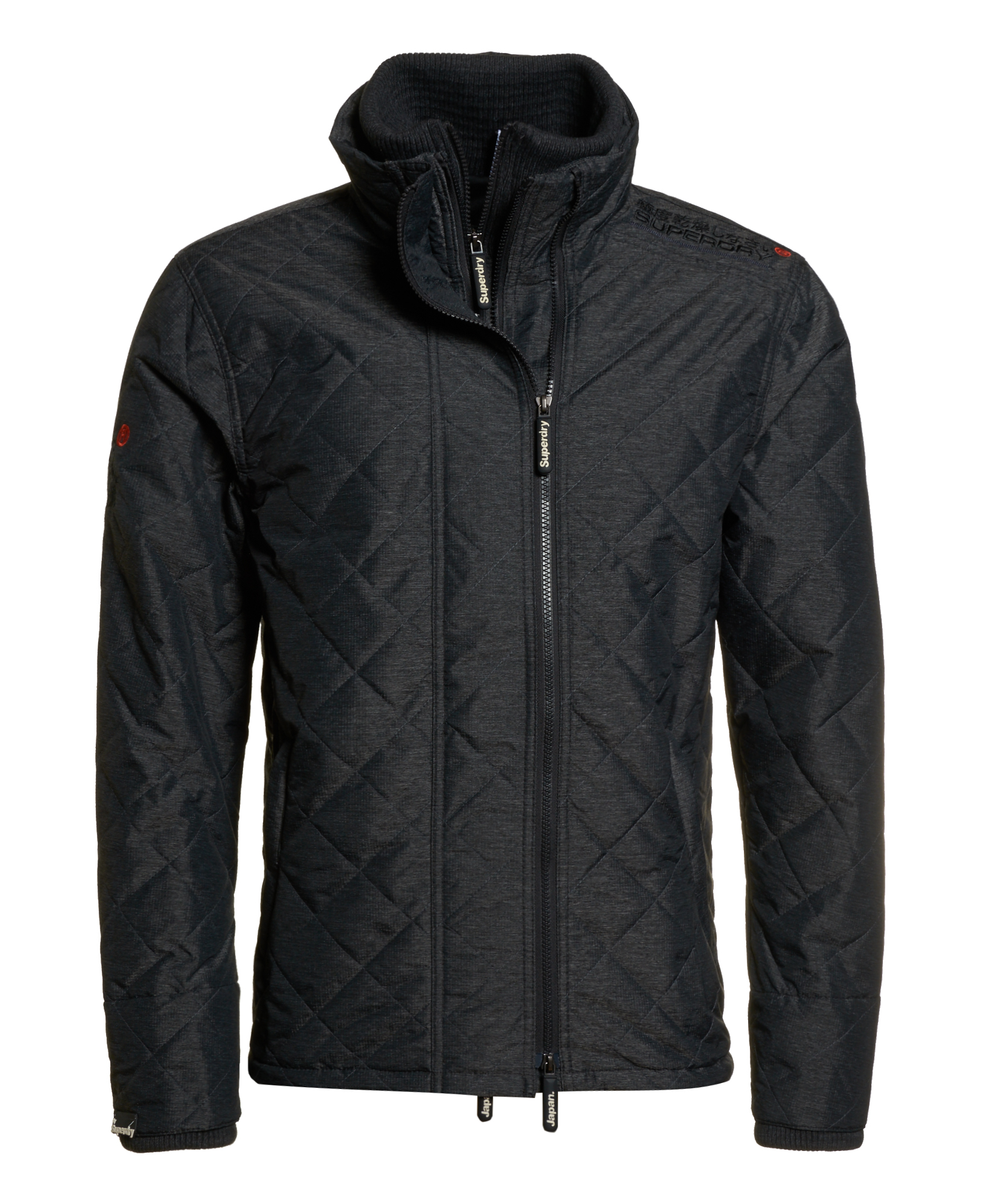 neue herren superdry quilted athletic windcheater schwarz. Black Bedroom Furniture Sets. Home Design Ideas