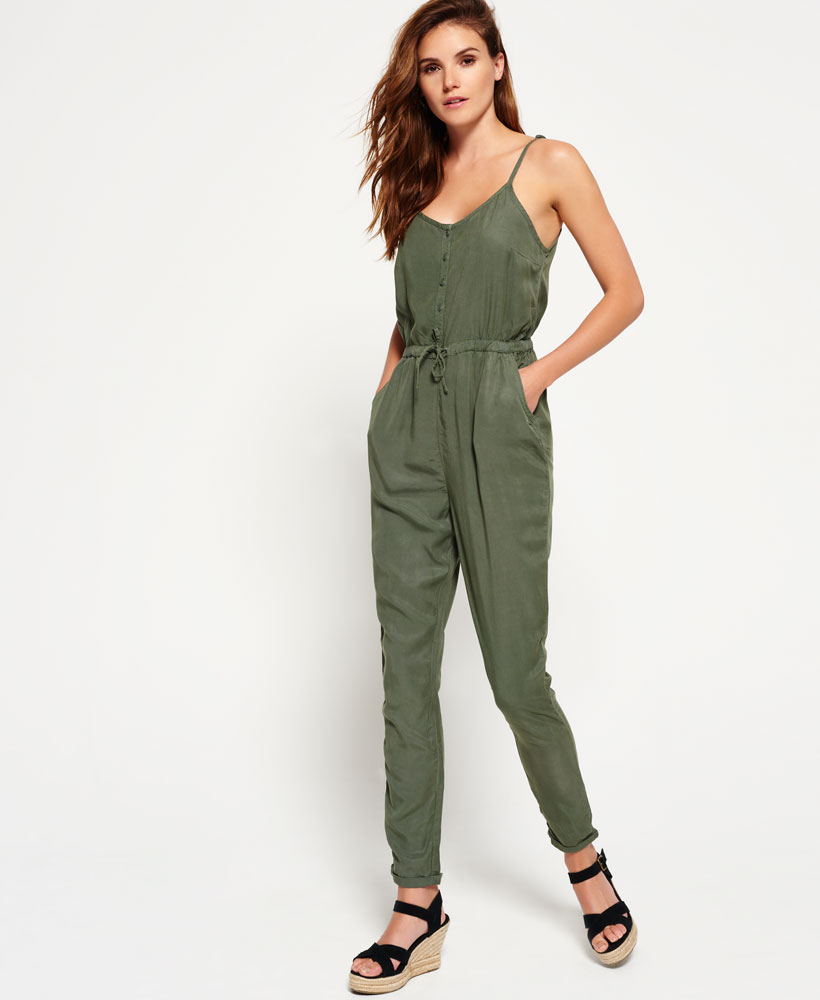Original Womens Plain Deep V Neck Sleeveless High Waist Wide Leg Jumpsuit Khaki