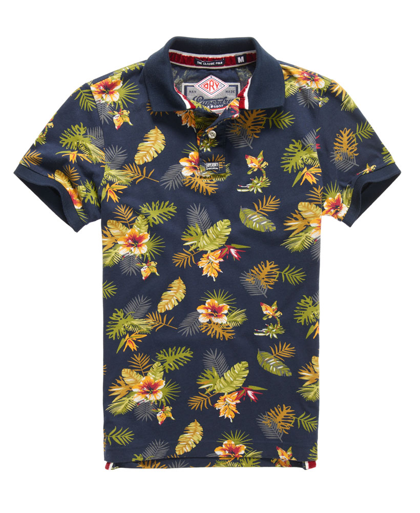 New mens superdry all over print jersey polo shirt eclipse for Polo shirts for printing