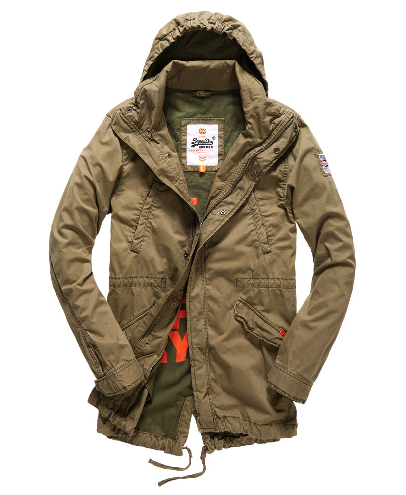 new mens superdry rookie parka jacket deepest army ebay. Black Bedroom Furniture Sets. Home Design Ideas