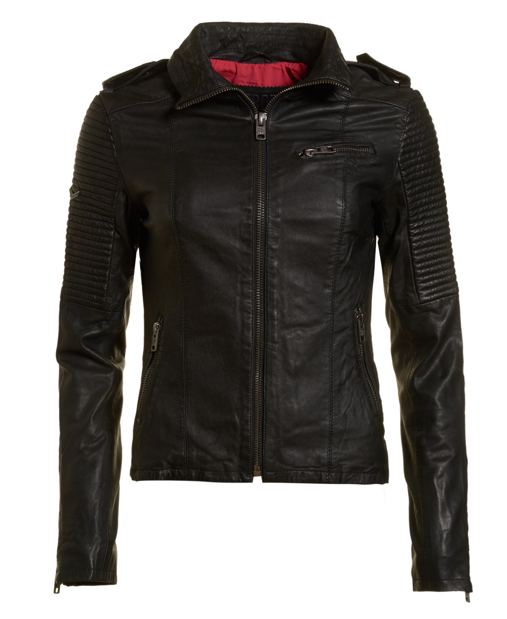 neue damen superdry leder jacke halo tall jacket schwarz. Black Bedroom Furniture Sets. Home Design Ideas