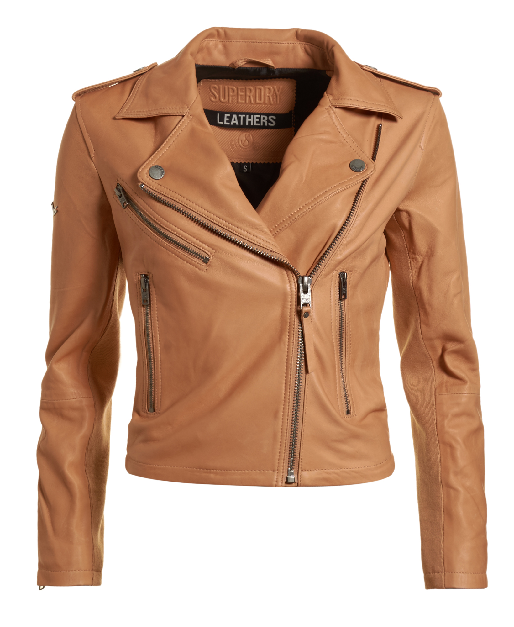 neue damen superdry jacke lux biker tan ebay. Black Bedroom Furniture Sets. Home Design Ideas