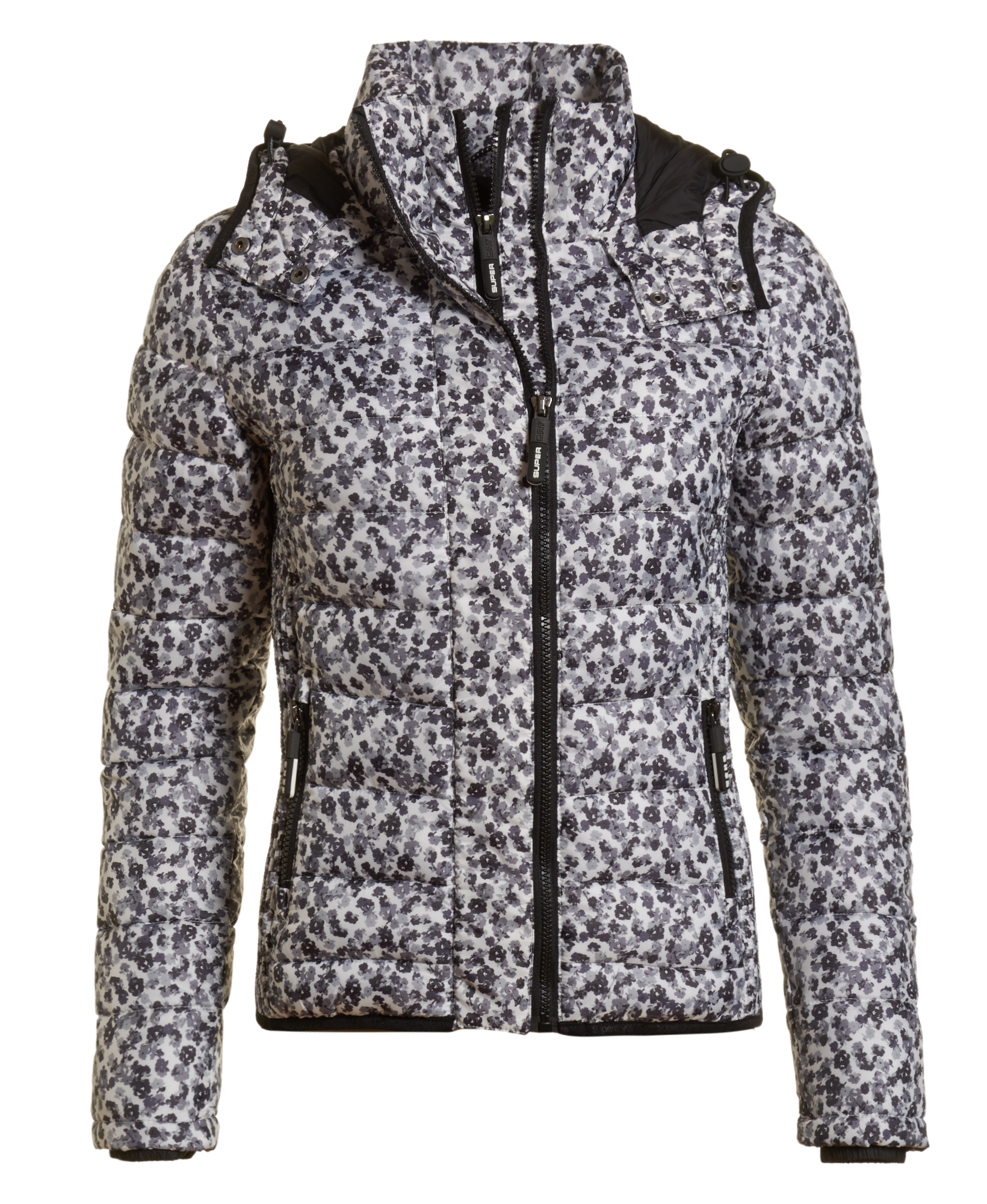 neuer damen superdry jacke fuji floral slim zip hood monochrome ditsy ebay. Black Bedroom Furniture Sets. Home Design Ideas