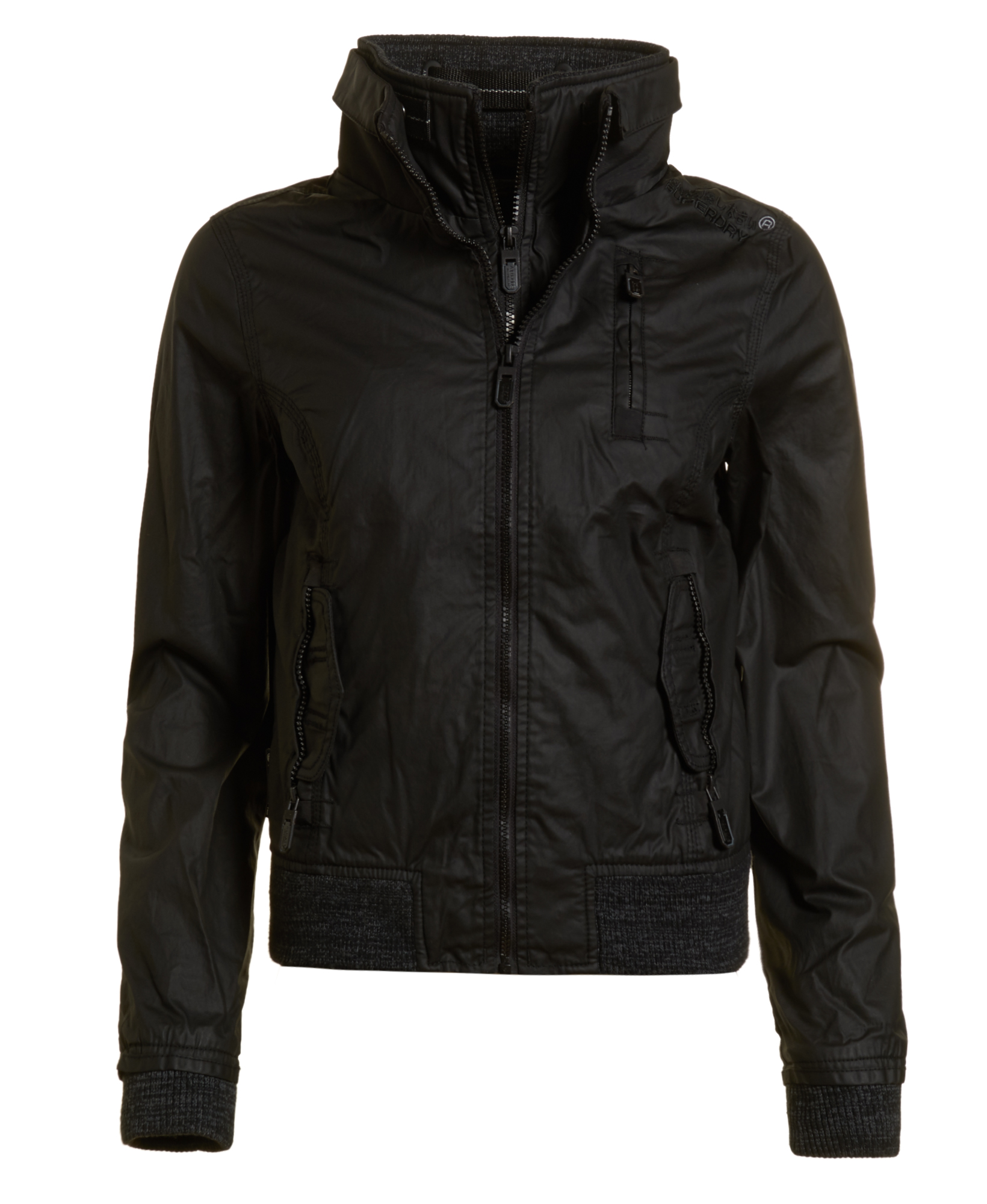 neue damen superdry jacke moody bomber lite schwarz ebay. Black Bedroom Furniture Sets. Home Design Ideas