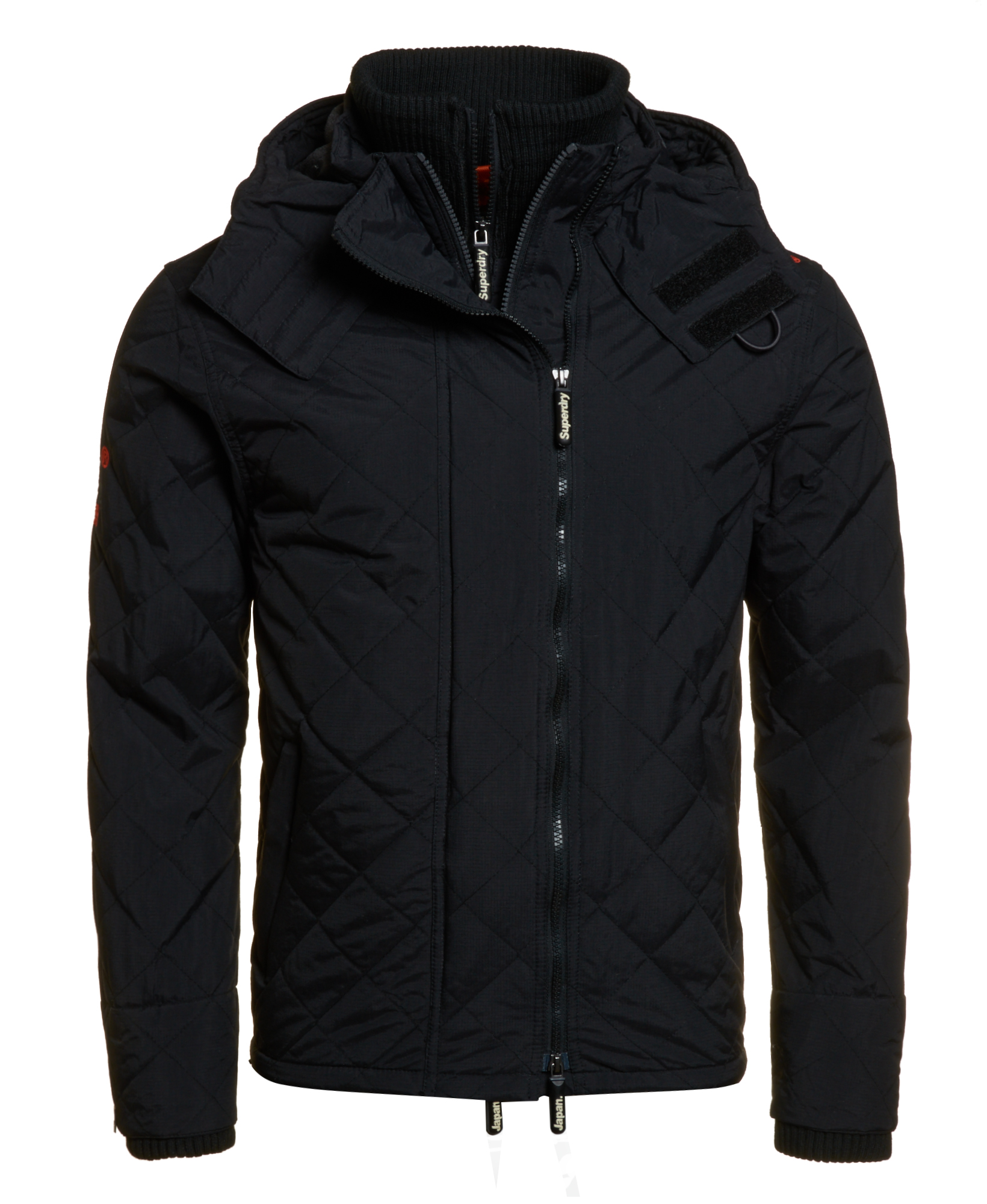 New Mens Superdry Quilted Hooded Polar Windcheater Black