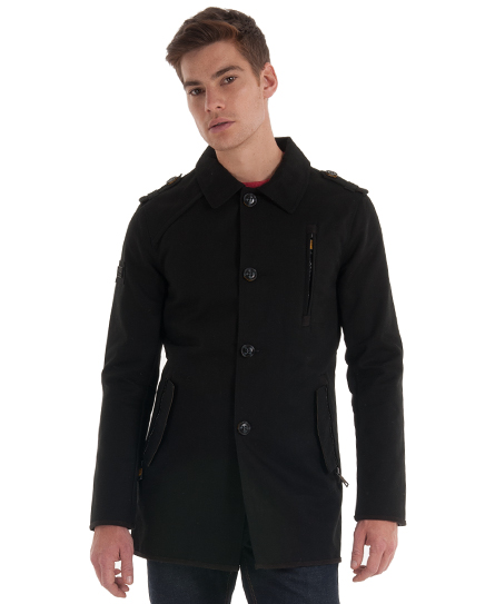 New Mens Superdry Off Jermyn Street Pea Trench Coat Black