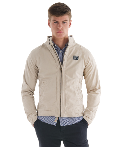 New-Mens-Superdry-Commodity-Harrington-Jacket-Stone-Beige-AB