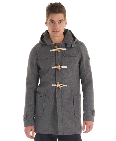 New Mens Superdry Classic Duffle Coat Dark Marl Grey BFM | eBay