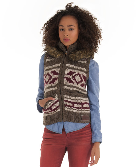 New Womens Superdry Hooded Ottawa Vest Jumper Brown