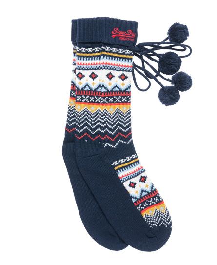 New Superdry Fairisle Tassel Slipper Socks Navy   EBay