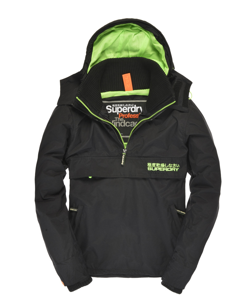 New Mens Superdry Pop Zip Wind Cagoule Jacket Black AA