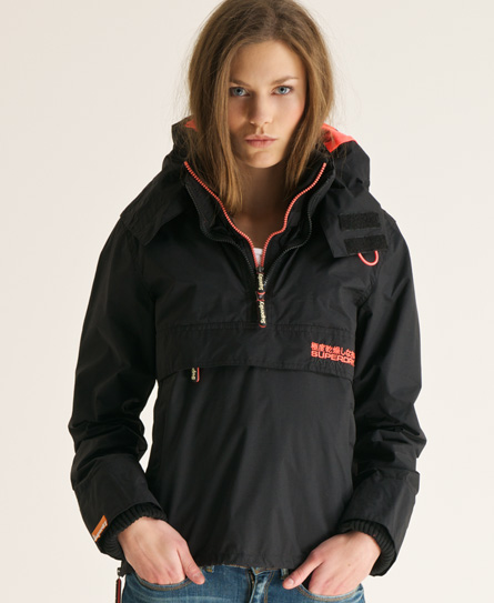 New Womens Superdry Pop Zip Wind Cagoule Jacket Black VH