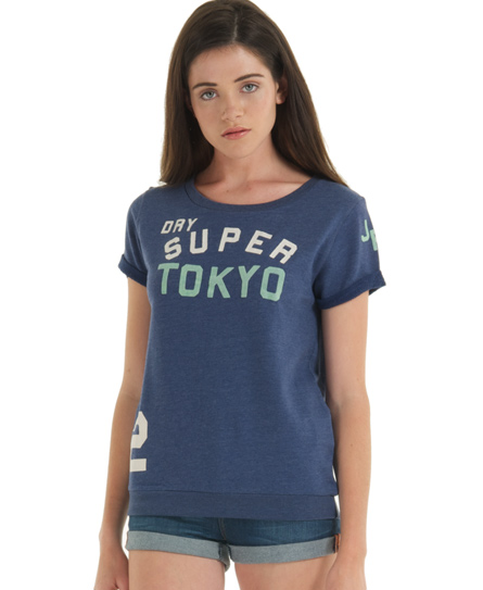 New Womens Superdry Super Tokyo Slouch Crew Sweat Top Ensign Marl Blue SW