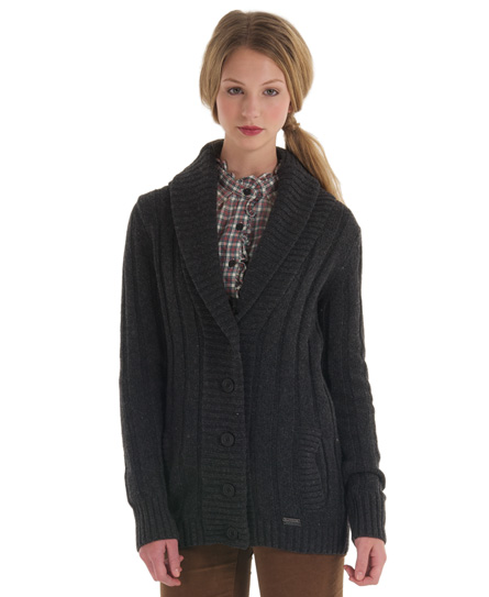 New Womens Superdry Parliament Cardigan Charcoal Grey