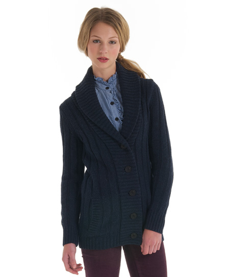 New Womens Superdry Parliament Cardigan Sterling Blue