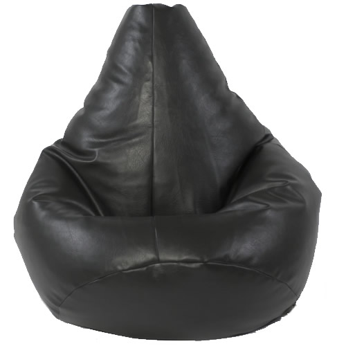 LARGE HIGHBACK BLACK FAUX LEATHER BEAN BAG CHAIR SEAT